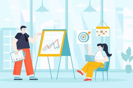 Business planning concept in flat design. Teamwork in office scene. Colleagues planning project, targeting, statistics analysis, development. Vector illustration of people characters for landing page Ilustração