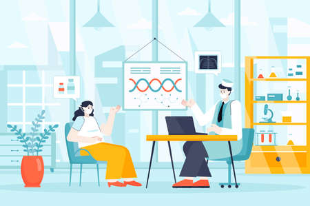 Medical clinic concept in flat design. Patient consulting with doctor in office scene. Diagnostics, treatment, prescription of medicines. Vector illustration of people characters for landing page Ilustração