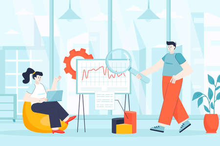 Big data analysis concept in flat design. Business analysts work in office scene. Teamwork on project, analysis of statistics and graphs. Vector illustration of people characters for landing page