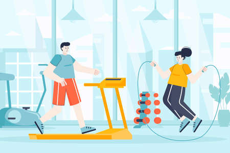 Fitness gym concept in flat design. Couple exercising in sports club scene. Man running on treadmill, woman jumping rope. Workout training. Vector illustration of people characters for landing page