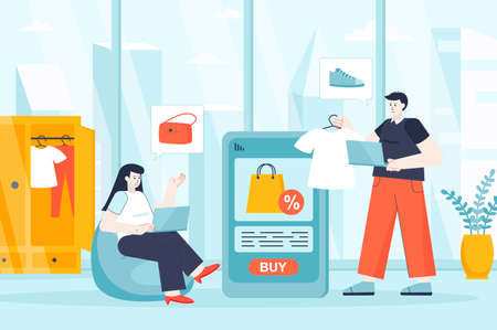 Online shopping concept in flat design. Couple buying clothes on store website scene. Man and woman choose new outfits, pay at mobile app. Vector illustration of people characters for landing page