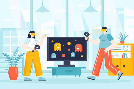 Virtual reality concept in flat design. Couple wear VR glasses at home scene. Man and woman in VR headset playing interactive video game. Vector illustration of people characters for landing page Ilustração
