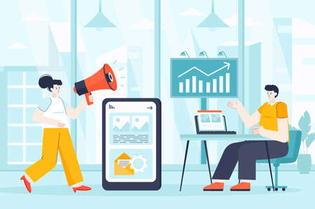 Outbound marketing concept in flat design. Colleagues work in office scene. Advertising, business promotion, communication with customers. Vector illustration of people characters for landing page Ilustração