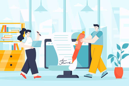 Electronic contract concept in flat design. Concluding deal, signing documents scene. Man and woman sign official paper at business meeting. Vector illustration of people characters for landing page Ilustração