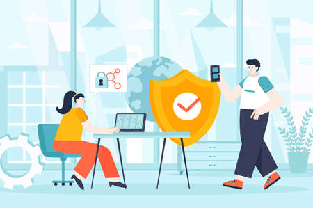 Network security concept in flat design. Security service works in office scene. Man and woman provide Internet protection, access to data. Vector illustration of people characters for landing page
