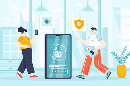 Biometric access control concept in flat design. Security service working scene. Man and woman use fingerprint scanner, access to device. Vector illustration of people characters for landing page Ilustração