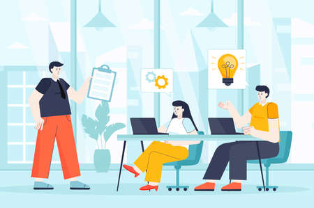 Teamwork concept in flat design. Colleagues work at office scene. Employees team at business meeting, discussion of strategy, brainstorming. Vector illustration of people characters for landing page Ilustração