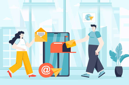 Mobile email service concept in flat design. Colleagues work at office scene. Man and woman sending newsletter, messaging, business marketing. Vector illustration of people characters for landing page