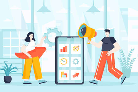 Mobile marketing concept in flat design. Marketers team working at office scene. Man and woman promotion, advertising at smartphone app. Vector illustration of people characters for landing page