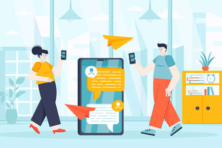 Messaging service concept in flat design. Man and woman communicate in messenger scene. Text messages, digital correspondence, chatting. Vector illustration of people characters for landing page
