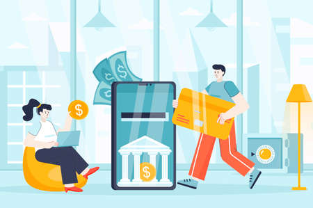 Mobile banking concept in flat design. Mobile application for bank transactions scene. Man and woman pay online, make deposits, accounting. Vector illustration of people characters for landing page