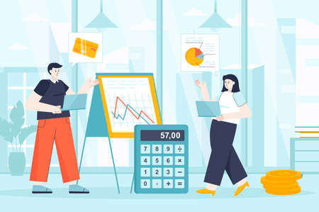 Financial management concept in flat design. Employees work in office scene. Man and woman analysis data graphics, accounting, investment. Vector illustration of people characters for landing page