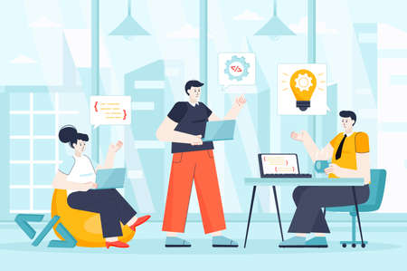 Developers team concept in flat design. Teamwork at office scene. Man and woman coding, programming, brainstorming, working project together. Vector illustration of people characters for landing page