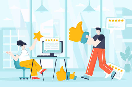 Best feedback concept in flat design. Employees get good reviews from satisfaction customers scene. Man and woman hold stars, like signs. Vector illustration of people characters for landing page