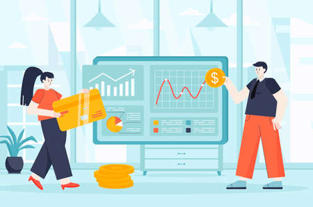 Virtual finance concept in flat design. Financial accounting on website scene. Man and woman use online banking, pay online with credit cards. Vector illustration of people characters for landing page