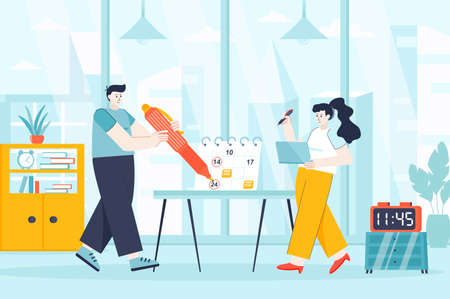 Planning concept in flat design. Time management scene. Man and woman mark important dates on calendar, plans, productivity, job deadline. Vector illustration of people characters for landing page