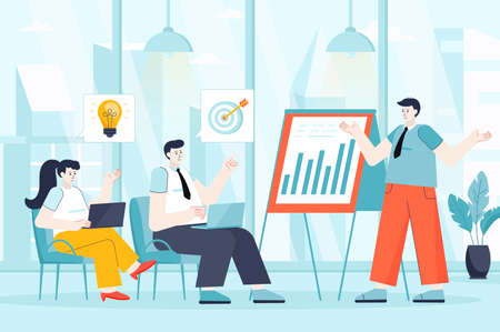 Business training concept in flat design. Colleagues at conference scene. Employees listen to coach, improve qualifications, success career. Vector illustration of people characters for landing page