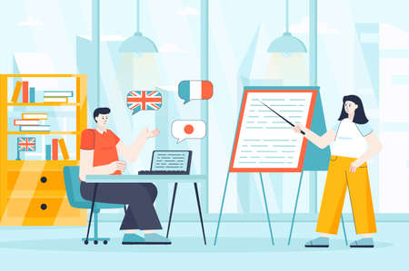 Language courses concept in flat design. Student in lesson at classroom scene. Man studying English, French, Japanese, listening to teacher. Vector illustration of people characters for landing page