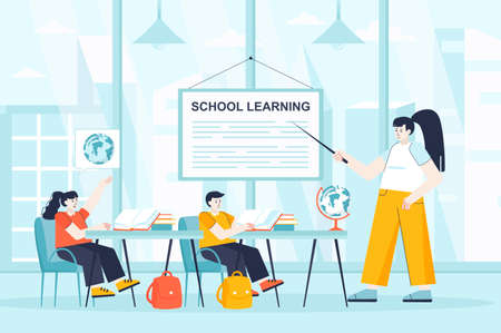School learning concept in flat design. Pupils in lesson at classroom scene. Boy and girl studying world geography, listening to teacher. Vector illustration of people characters for landing page