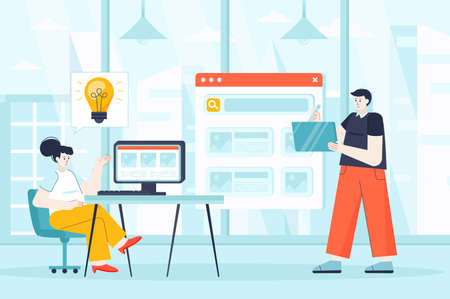 Designers concept in flat design. Employees working at office scene. Man and woman creating new product, development interface or program. Vector illustration of people characters for landing page