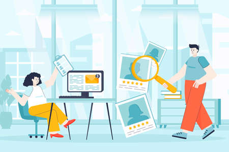HR management concept in flat design. Recruitment process at office scene. Man and woman choosing best resumes, looking employee for vacancy. Vector illustration of people characters for landing page