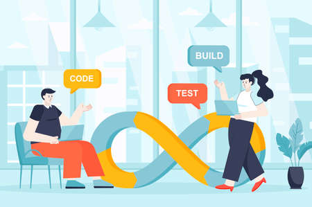 DevOps concept in flat design. Teamwork and communication in office scene. Developer and programmer working project, coding, testing building. Vector illustration of people characters for landing page