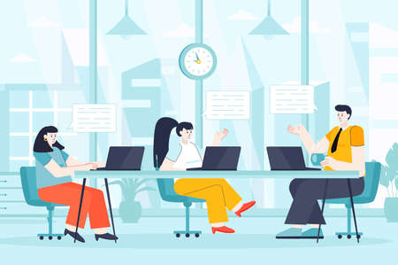 Focus group concept in flat design. Man and women communicate in office scene. Marketing team discuss company strategy, brainstorms, talking. Vector illustration of people characters for landing page