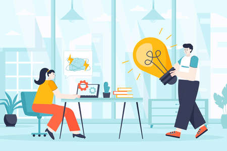 Creative agency concept in flat design. Marketing team work in office scene. Man and women come up creative ideas, create ads, make content. Vector illustration of people characters for landing page