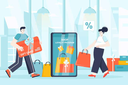 Shop loyalty program concept in flat design. Attraction of new clients scene. Man and woman shopping, receiving prizes from store, gift cards. Vector illustration of people characters for landing page