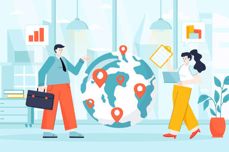 Global business concept in flat design. Employees of international company in office scene. Man and woman by huge world globe with marks. Vector illustration of people characters for landing page Ilustração