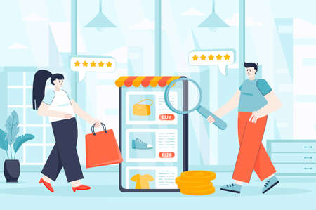 E-commerce concept in flat design. Buyers make online shopping scene. Man and woman buying clothes and shoes in internet store at mobile app. Vector illustration of people characters for landing page