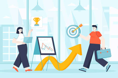 Career opportunities concept in flat design. Professional growth and development scene. Man and woman develop at work, targeting, motivation. Vector illustration of people characters for landing page Ilustração