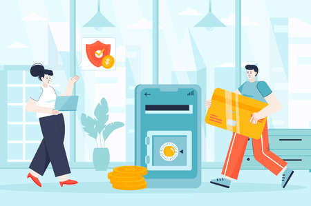 Online banking concept in flat design. Man and woman payment from mobile app scene. Couple make internet transaction, using bank services. Vector illustration of people characters for landing page Ilustração