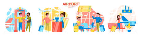 Airport concept scenes set. Passengers go through security control, check-in, waiting in lobby hall, boarding plane. Collection of people activities. Vector illustration of characters in flat design