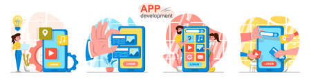 App development concept scenes set. Designer comes up with ideas, developers create interface of mobile application. Collection of people activities. Vector illustration of characters in flat design