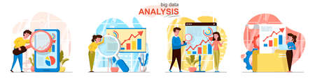 Big Data analysis concept scenes set. Analysts collect statistics, analyze charts, database, business development. Collection of people activities. Vector illustration of characters in flat design