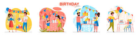 Birthday concept scenes set. Friends have fun at party, parents congratulate children and give them gifts at festive. Collection of people activities. Vector illustration of characters in flat design Ilustração