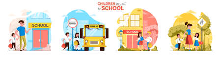 Children go to school concept scenes set. Parents take their children to school, students with bags rush to lessons. Collection of people activities. Vector illustration of characters in flat design