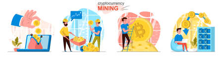 Cryptocurrency mining concept scenes set. Miners create digital money or bitcoins, blockchain tech, increase profits. Collection of people activities. Vector illustration of characters in flat design Ilustração