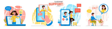 Customer support concept scenes set. Hotline operators advising clients, online help center, feedback messages. Collection of people activities. Vector illustration of characters in flat design