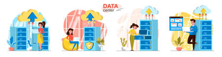 Data center concept scenes set. Technicians work at server racks room, storage, analysis and computing at datacenter. Collection of people activities. Vector illustration of characters in flat design