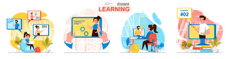 Distant learning concept scenes set. Pupils and students watch lessons online, digital study at school or university. Collection of people activities. Vector illustration of characters in flat design