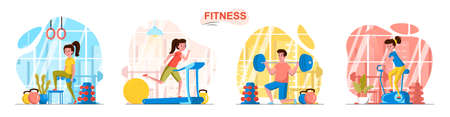 Fitness sport club concept scenes set. Woman training with dumbbells, exercising on simulators, man is weightlifting. Collection of people activities. Vector illustration of characters in flat design Ilustração