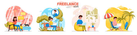 Freelance work concept scenes set. Freelancers work on laptops in office, at home, outdoors, on vacation sea resort. Collection of people activities. Vector illustration of characters in flat design