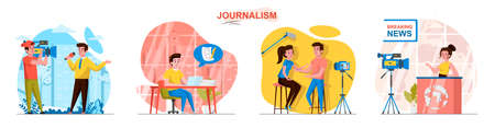 Journalism concept scenes set. Reporter recording reportage, journalist writing article, news anchor, interview. Collection of people activities. Vector illustration of characters in flat design