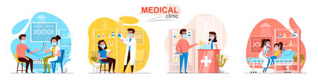 Medical clinic concept scenes set. Patient visit doctor, diagnostics, laboratory, pharmacy, pediatrician treats kid. Collection of people activities. Vector illustration of characters in flat design