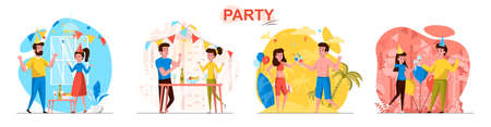 Party concept scenes set. Men and women dance, celebrate birthday, have fun on vacation on holiday, festive event. Collection of people activities. Vector illustration of characters in flat design