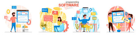 Programming software concept scenes set. Developers code in different programming languages, create app interface. Collection of people activities. Vector illustration of characters in flat design