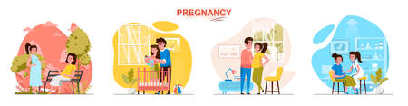 Pregnancy concept scenes set. Pregnant woman meets with friend, spends time with husband, doctor screening, newborn. Collection of people activities. Vector illustration of characters in flat design