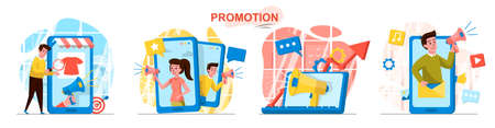 Promotion concept scenes set. Marketing team attracting buyers, makes advertising content at mobile application. Collection of people activities. Vector illustration of characters in flat design